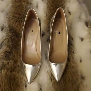 J. Crew Metallic Silver shoes
